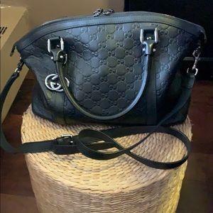 Gucci Black Leather Logo Bag